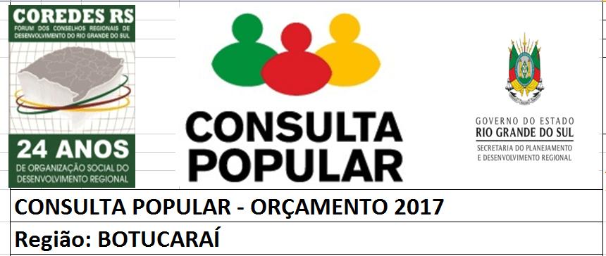 COREDE SUL RECEBERÁ RS 3,8 MILHÕES DA CONSULTA POPULAR